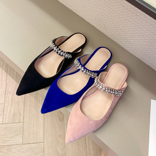 Arden Furtado Summer Fashion Trend Women's Shoes Pointed Toe Sexy pink and blue Matte Mules Elegant pure color Slippers Black