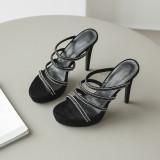 Arden Furtado Summer Fashion Trend Women's Shoes  Sexy Elegant pure color Crystal Rhinestone  Waterproof Slippers Narrow Band