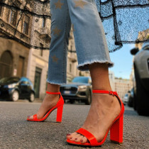 Arden Furtado Summer Fashion Trend Women's Shoes pure color Red Buckle Classics Narrow Band Sandals  Chunky Heels Party Shoes
