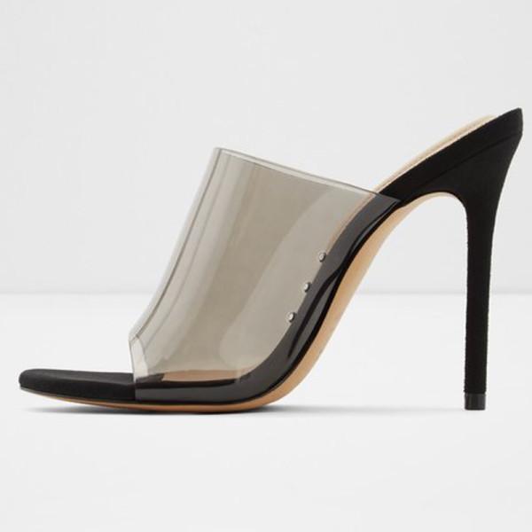 Arden Furtado Summer Fashion Trend Women's Shoes Office lady  Sexy Mature Elegant pure color Transparent Slippers Classics