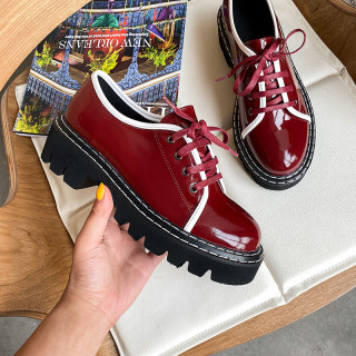 Arden Furtado Spring autumn Fashion Women's Shoes pure color wine red Classics Shallow Cross Lacing Round Toe Leather Classics