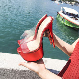 Arden Furtado Summer Fashion Trend Women's Shoes  pink red Waterproof Sexy Classics PVC Elegant pure color Slippers Big size 50