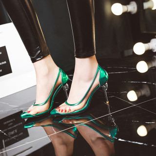 Arden Furtado Summer Fashion Trend Women's Shoes Pointed Toe Concise PVC Stilettos Heels   Sexy Elegant Slip-on Party Shoes