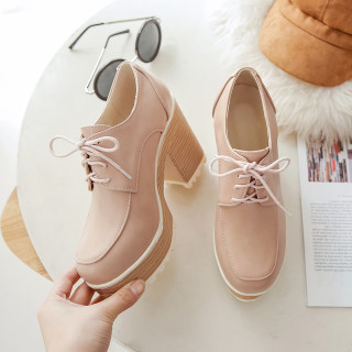 Arden Furtado Spring And autumn Fashion Women's Shoes pure color pink beige Sexy Elegant pure color Cross Lacing Chunky Heels