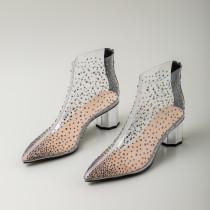 Arden Furtado Summer Fashion Trend Women's Shoes Pointed Toe Classics Zipper Chunky Heels Zipper Sexy Elegant PVC Cool boots