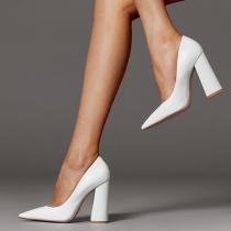 Arden Furtado Summer Fashion Women's Shoes Pointed Toe Chunky Heels  Sexy Elegant pure color Slip-on Pumps Elegant