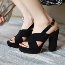 Arden Furtado Summer Fashion Trend Women's Shoes pure color beige Chunky Heels Sandals Buckle Waterproof Sandals  Big size 43