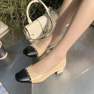 Arden Furtado Summer Fashion Trend Women's Shoes Metal Chain purple Mature Slip-on Classics Round Toe Pumps Big size 41