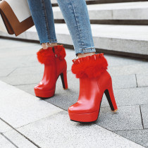 Arden Furtado Fashion Women's Shoes Winter Pointed Toe Classics Waterproof Chunky Heels Zipper pure color red Short Boots