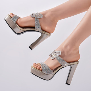 Arden Furtado Summer Fashion Trend Women's Shoes gold silver Elegant pure color Waterproof Slippers Classics Crystal Rhinestone