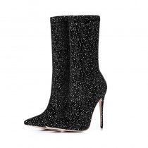 new style slip on fashion boots high heels 12cm ankle boots bling bling Stretch boots mid calf boots half boots big size