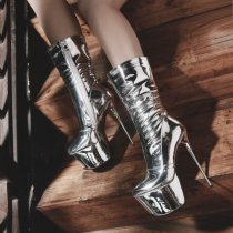 2018 winter silver boots high heels 16cm platform sexy fashion mid calf boots size 32-43 shoes for woman