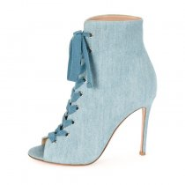 Arden Furtado 2018 summer boots peep toe blue jeans stilettos ankel boots big size 40 41 42 43 high heels 10cm velvet satin cloth fashion sandals