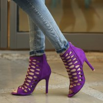 Fashion peep toe summer boots shoes women's fretwork cage sandals women's shoes purple ankle boots