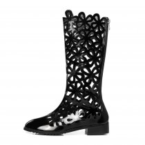 Arden Furtado 2018 spring summer casual fretwork gladiator zip knee high boots big size small size flat summer boots shoes woman