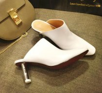 genuine leather high heels lighter heels pointed toe mules big size woman shoes slides slippers