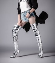2018 winter over the knee boots stilettos pointed toe big size 42 silver sexy party shoes ladies woman