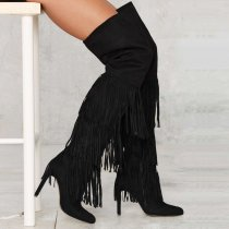 over the knee black suede high heels 11cm  stilettos tassels woman boots sexy Fringes shoes ladies big size