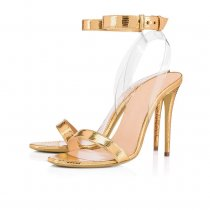 summer stilettos heels fashion ladies pvc clear ankle strap sandals gold evening party shoes high heels 12cm big size