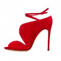stilettos high heels 11cm peep toe cage sandals shoes for woman red evening party shoes