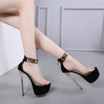 extreme high heels 16cm platform black suede clear pvc fashion sandals shoes for woman ladies evening party shoes