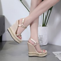 Cheap sandals Gold Evening Shoes rivets platform wedges Sandals fashion high Heels gladiator casual Glitter Shoes