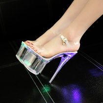 Light shoes luminous shoes stilettos crystal high heels peep toe ankle strap evening party shoes sandals