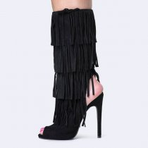 Fringe Summer Boots Cut out Slingback Shoes peep toe black suede sandals shoes for woman ladies under the knee high boots