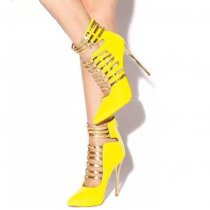 yellow Evening Shoes Cage Sandals 5 Inches Stiletto Heels Glitter Shoes summer ankle boots