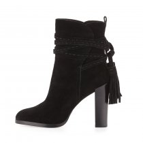 Fringe women's shoes chunky heels 10cm black suede boots fashion shoes big size ladies