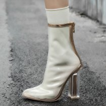 2018 summer crystal chunky heels pointed toe high heels fashion summer boots clear pvc women's shoes