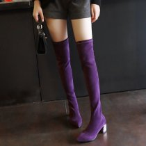 2018 spring autumn slip on fashion over the knee boots glitter chunky heels purple black Stretch boots
