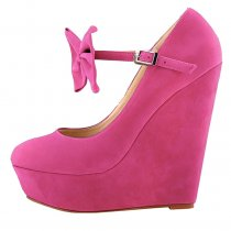spring autumn platform wedges buckle ankle strap wedges butterfly knot pumps yellow red green purple pink high heels 15cm