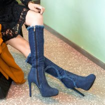 Arden Furtado 2018 spring autumn platform high heels knee high boots round toe sexy stilettos party shoes ladies blue jeans denim