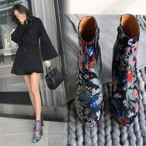 Arden Furtado 2018 spring autumn round toe woman shoes ladies chunky heels  printing flowers Nations wind platform ankle boots