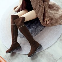Arden Furtado 2018 spring autumn winter round toe over the knee high brown boots woman shoes ladies