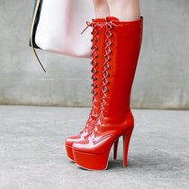 2018 summer high heels 14cmstilettos platform cross tied round toe women's shoes red white knee high boots big size