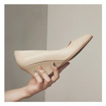 Arden Furtado 2018 spring autumn wedges pumps genuine leather slip on shoes woman pointed toe office lady dress shoes