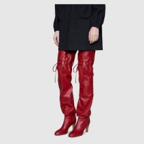Arden Furtado 2018 autumn winter fashion high heels 8cm red over the knee boots shoes woman round toe cross tied gingham boots big size 45