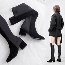 Winter women's shoes 2019 Arden Furtado knee high boots chunky heels pointed toe elegant suede consice big size