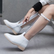 European and American temperament hot style leather women's transparent boots in spring and summer