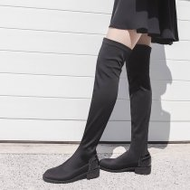 2018 autumn and winter black temperament long slim female boots size 40