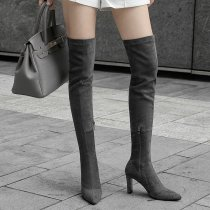 Autumn and winter 2018 Europe and the United States pure color temperament long style show thin thin heel female boots