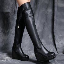 European and American fashion brand leather metal decoration is 9.5cm and knee girl boots