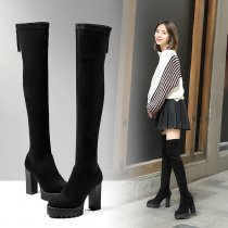 Hot style women's shoes fall/winter 2018 round head thick with waterproof platform for women to look thin and long boots