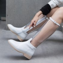 2018 winter rain boots Europe fashion round head zipper transparent women's middle boots
