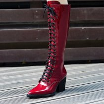 Winter fashion cross tied British pointed toe women's knee boots burgundy boots
