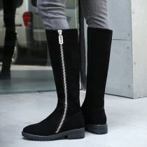 Winter 2018 hot style women's shoes leather style zipper round head zipper plain black and fashion knee boots women's boots round toe