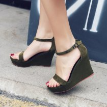 2018 European and American fashion style wedges party shoes army green   women's sandals with a word  elegant belt of pure color simple heighten women's shoes