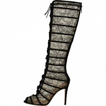 Fall/winter 2018 fashion women's boots hot style lace embellished pointy stiletto While the boots  embellished knee-high sexy  boots elegant